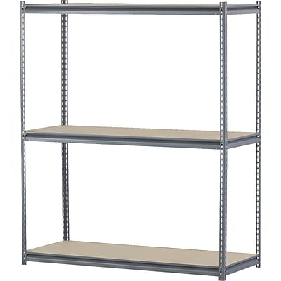 Edsal 16 Gauge Wide Span Boltless Shelving, 3 Shelves, Gray, 72H x 60W x 24D