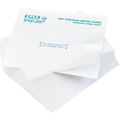 PM Company Postage Meter Double Tape Sheets, 4 x 5 1/2, White