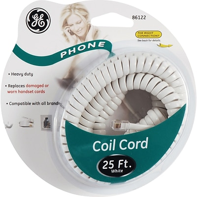 GE 25 Coil Phone Cord (White)
