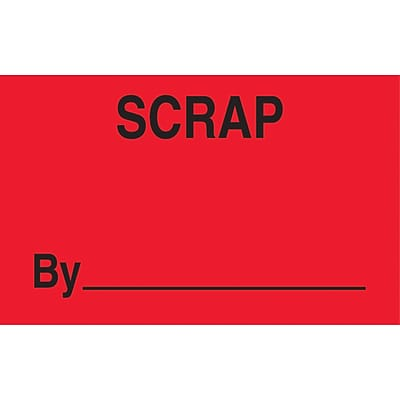 Staples® Scrap By ________ Labels, Red/Black, 5 x 3, 500/Roll (LABDL3361)