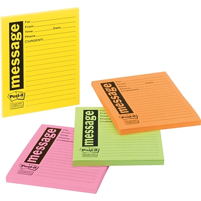 Post-it® Telephone Message Pads, 3 x 3, Rio de Janeiro Collection, 24 Pads/Pack (7679-4)