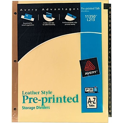 Avery® Gold Reinforced Black Leather Tab Dividers, 8 1/2 x 11, Alphabet