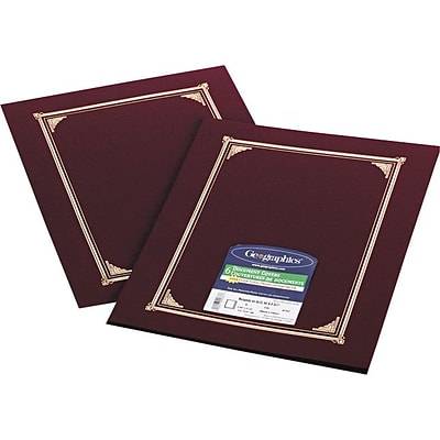 Geographics Linen Certificate Covers, 12-1/2\
