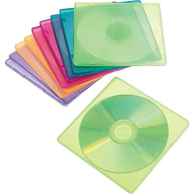 Innovera® CD/DVD Case, Polypropylene, Slim, Assorted, 10-Pack