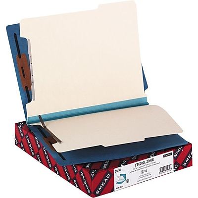 Smead® End Tab Classification File Folder, 2 Divider, 2 Expansion, Letter Size, Blue, 10 per Box (26836)