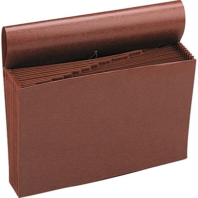 Smead® TUFF Expanding File, Monthly (Jan.-Dec.), 12 Pockets, Flap & Elastic Cord Closure, Legal, Redrope Stock (70390)