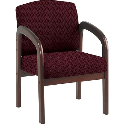 Office Star Custom Mahogany Wood Visitors Chair, Inferno