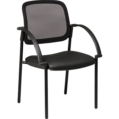 DBM Office Star™ Screen Back Mesh Guest Chair with Leather Seat