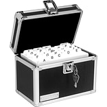 Vaultz Locking Card File Box, Holds 4 x 6 Cards, 450-Card Capacity, Black/Silver