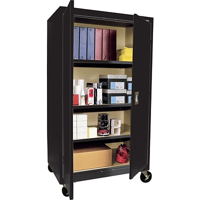 Sandusky® Steel Mobile Storage Cabinet, Assembled, 66Hx36Wx24D, Black