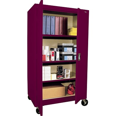 Sandusky Transport Mobile Storage Cabinets; Burgundy, 60Hx36Wx24D
