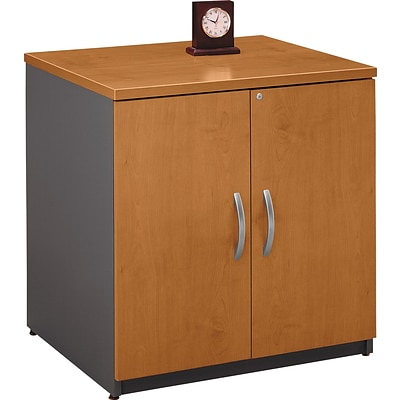 Bush Business Westfield 30W Storage Cabinet, Natural Cherry/Graphite Gray