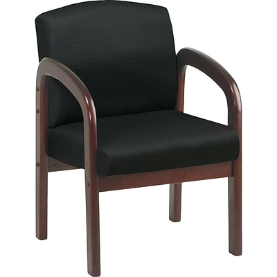Office Star Wood Guest Chair, Mahogany Finish Wood with Black Fabric