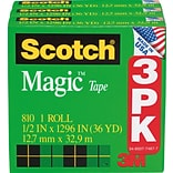 Scotch® Magic™ Tape; 1/2Wx1296L, 1 Core, 3/Pack