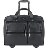 SOLO Rolling Leather Laptop Case, Black, 15.6