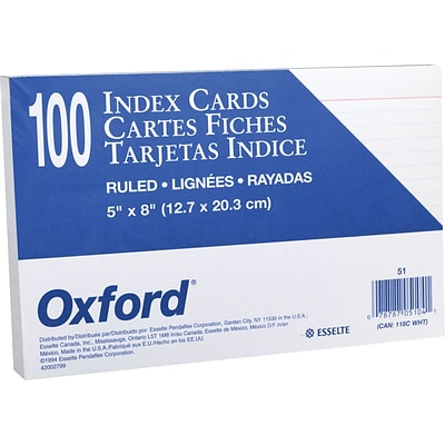Oxford® Index Cards; 5 x 8, Ruled, White, 100/Pack