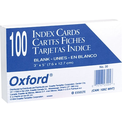Oxford® Index Cards; 3 x 5, Blank, White, 100/Pack