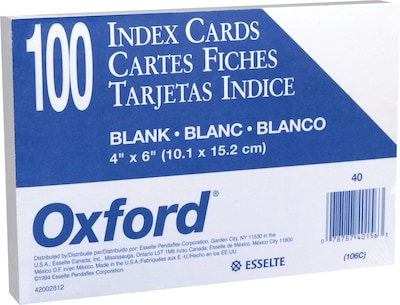 "Oxford® Index Cards; 4 x 6"", Blank, White, 100/Pack"