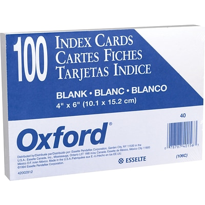Oxford® Index Cards; 4 x 6, Blank, White, 100/Pack