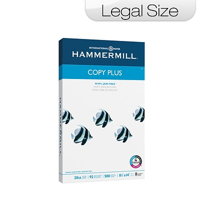 Hammermill Copy Plus Legal Copy Paper, 8-1/2 x 14, 92 Bright, 20 LB, 500 Sheets