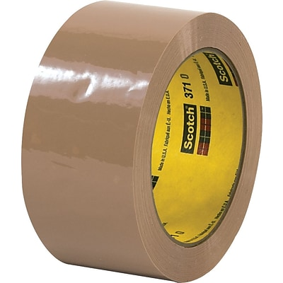 3M™ #371 Hot Melt Packaging Tape, 2x55 yds., Tan, 36/Case