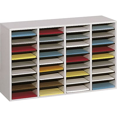 Safco® Adjustable Compartment Literature Organizers in Grey Finish, 36 Shelves