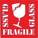 Fragile Glass Label, 4 x 4, 500/Roll