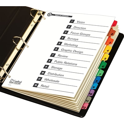 Cardinal® 100% Recycled OneStep® Printable Table of Contents and Dividers, 12-Tab, Multicolor, 1/St