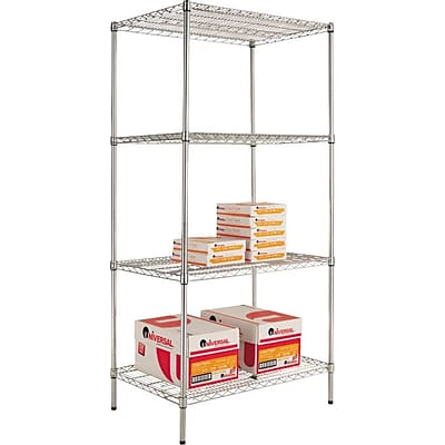 Alera® Industrial Wire Shelving Starter Set, 36Wx24D, Silver