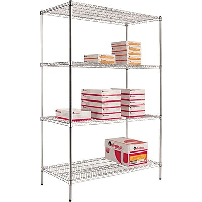 Alera® Industrial Wire Shelving Starter Set, 48Wx18D, Silver