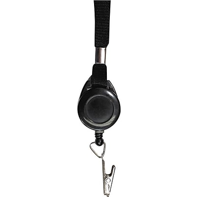 Advantus® 36 Lanyard With Retractable ID Reel and and Badge Clip, Black, 12/Pack
