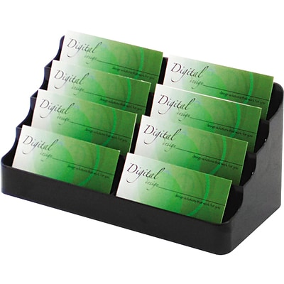 Deflect-O® Eight-Pocket Desktop Business Card Holders, Black