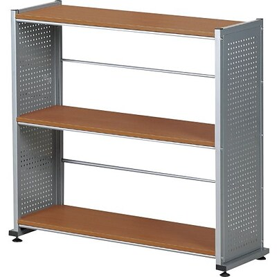 Mayline® Eastwinds™ Accent Shelving With 3-Shelves, 31 x 31 1/4 x 11, Medium Cherry/Metallic Gray