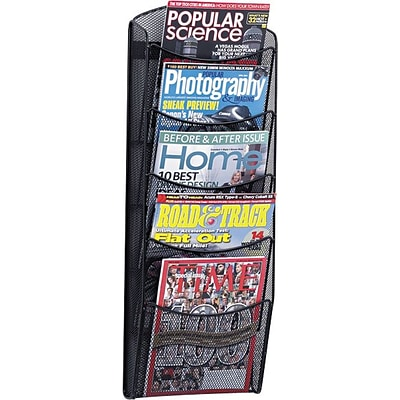 Safco® Steel 5-Pocket Onyx™ Magazine Rack, Black (5578BL)