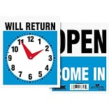 Headline® Reversible OPEN/WILL RETURN Business Sign with Clock, 7 1/2 x 9, 1 each