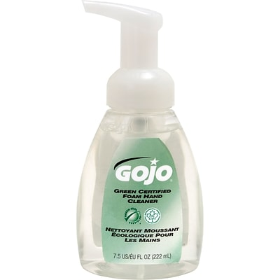 GOJO Green Certified Foam Hand Cleaner, Pump Bottle, Unscented, 7.5 oz., 6/CT