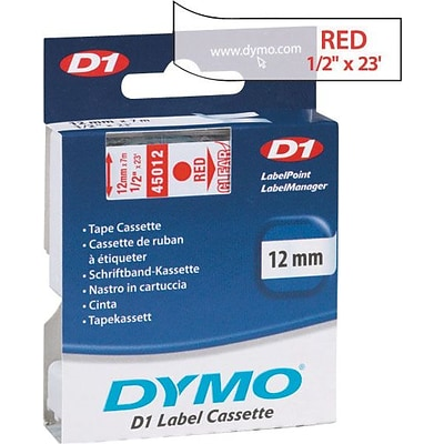 DYMO® Tape Cartridge for Electronic Label Makers, 1/2 x 23, Red on Clear