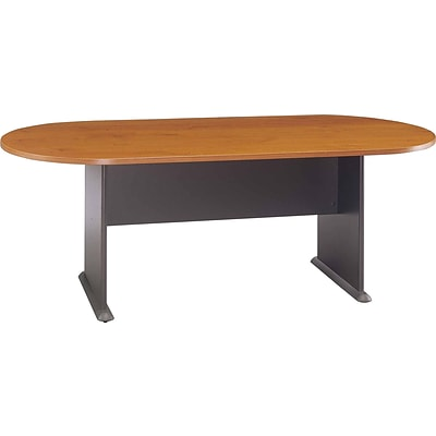 Bush® Racetrack Conference Room Tables, Natural Cherry With Graphite Grey, Ready to Assemble