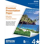 Epson® Double Sided Premium Presentation Paper, Matte Finish, 8.5 x 11, 50/Pk