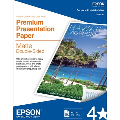 Epson® Double Sided Premium Presentation Paper, Matte Finish