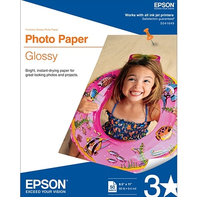 Epson® Glossy Photo Paper, 8 1/2 x 11,  50/Pack