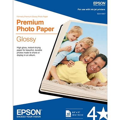 Epson® Premium Photo Inkjet Paper, 8 1/2 x 11, High Gloss, 50/Pack