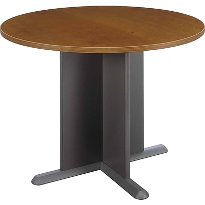 Bush Business Westfield 42W Round Conference Table, Cafe Oak/Graphite Gray