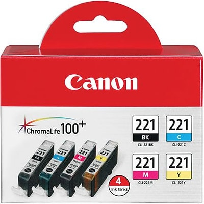 Canon CLI 221 Black/Color Ink Cartridges, 4/Pack (2946B004)