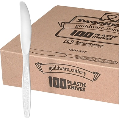 Solo® Boxed Heavyweight Utensils, Knife, White, 100/Box