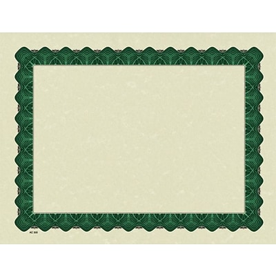 Great Papers® Parchment Certificates with Metallic Green Border, 25/Pack