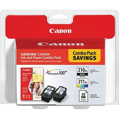 Canon® PG-210/CL-211 HY Inkjet Cartridges Photo Value Pack, Black/Color, Multi-pack (2 cart per pack)