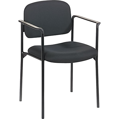 basyx by HON® VL616 Stacking Guest Chair with Arms, Fabric, Black, Seat: 19W x 17 1/2D, Back: 18 1/2W x 14 3/4H