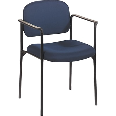 basyx by HON® VL616 Stacking Guest Chair with Arms, Navy Fabric, Seat: 19W x 17 1/2D, Back: 18 1/2W x 14 3/4H