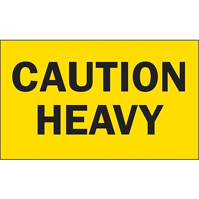 Caution Heavy Special Handling Label, 3 x 5, 500/Roll (DL2101C)